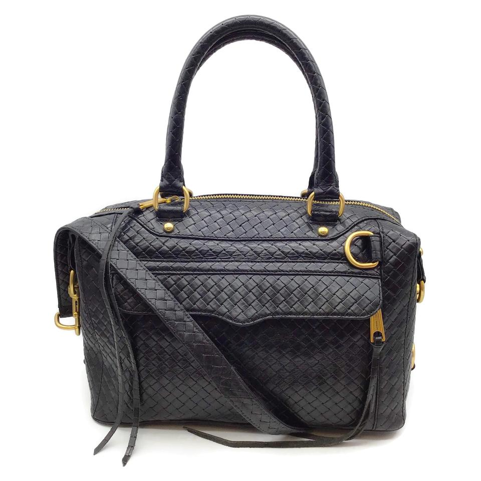 Rebecca Minkoff Woven Black Leather Satchel