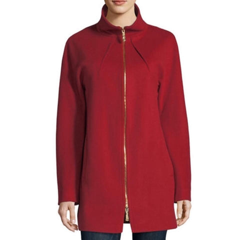 Sofia Cashmere Red Funnel Neck Zip Front Coat
