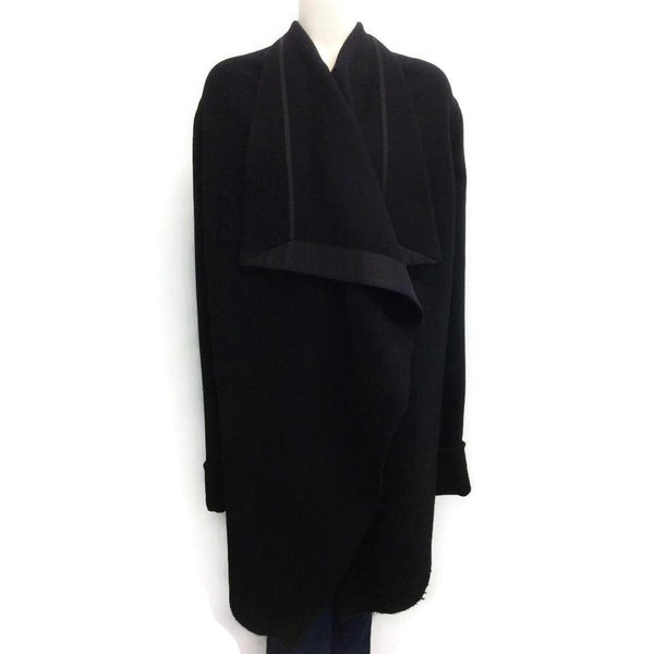 Rick Owens Black Draped Wool Cape, front