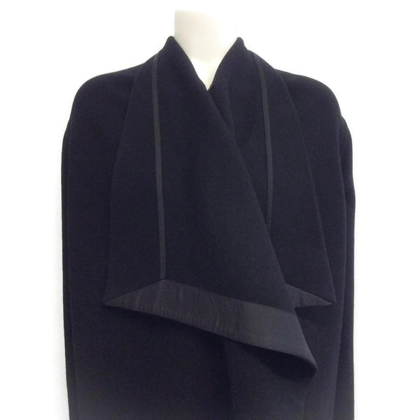Rick Owens Black Draped Wool Cape, chest close-up