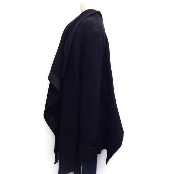 Rick Owens Black Draped Wool Cape, side