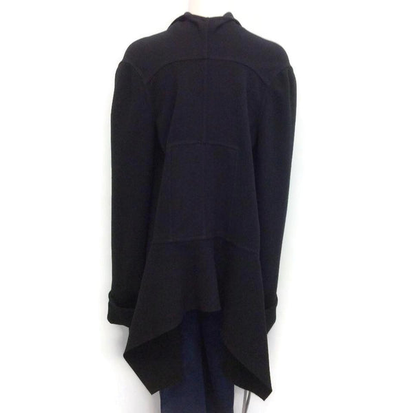 Rick Owens Black Draped Wool Cape, back