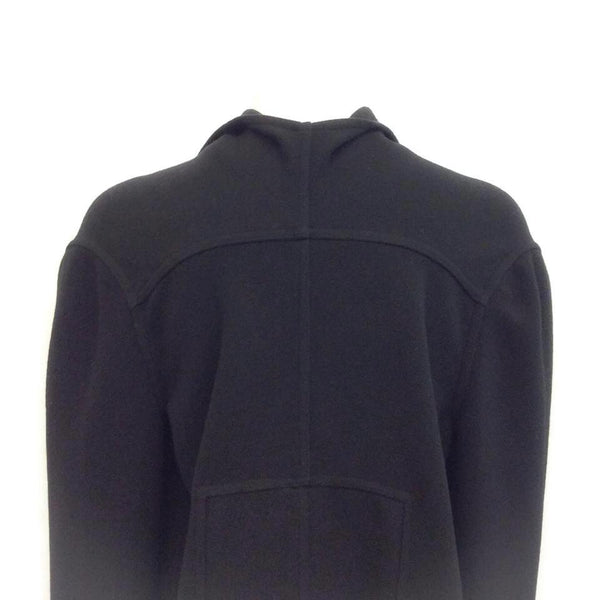 Rick Owens Black Draped Wool Cape, back close-up