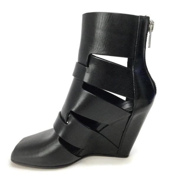 Rick Owens Black Leather Cutouts Boots