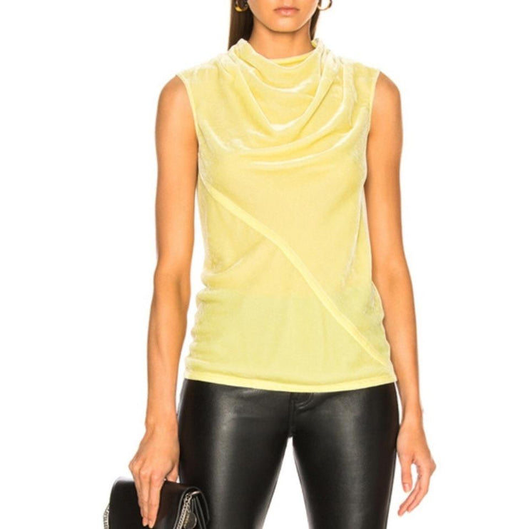 Rick Owens Lime Silk Velvet Bonnie Tank Top