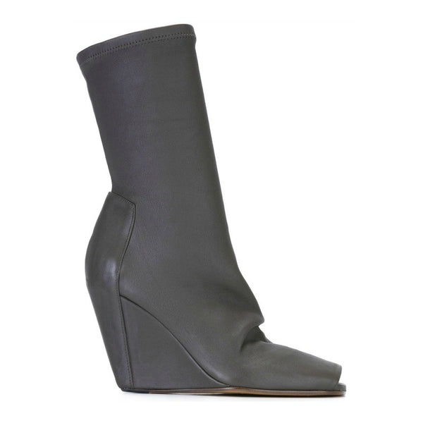 Stretch Wedge Dark Dust Booties by Rick Owens side