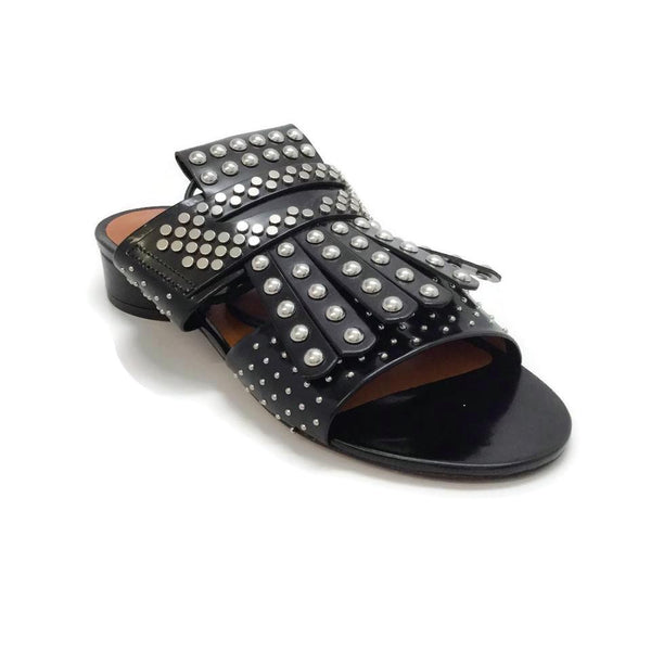 Robert Clergerie Black Figlouc Studded Fringe Sandals