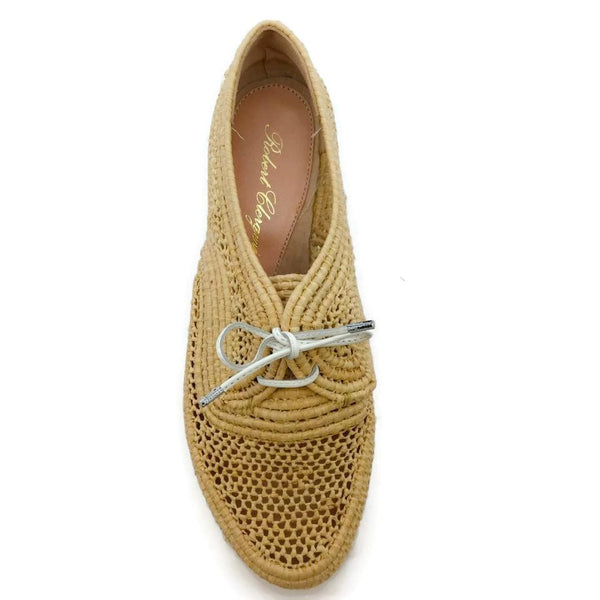 Robert Clergerie Raffia / White Lace-up Wedges