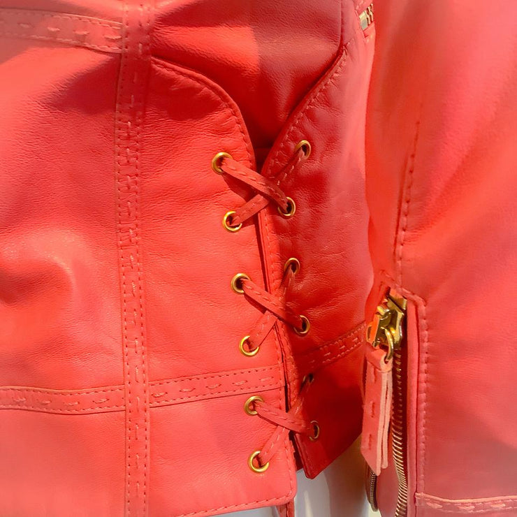 Roberto Cavalli Pink Leather Jacket