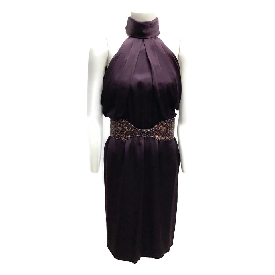Roberto Cavalli Plum Silk Halter Dress