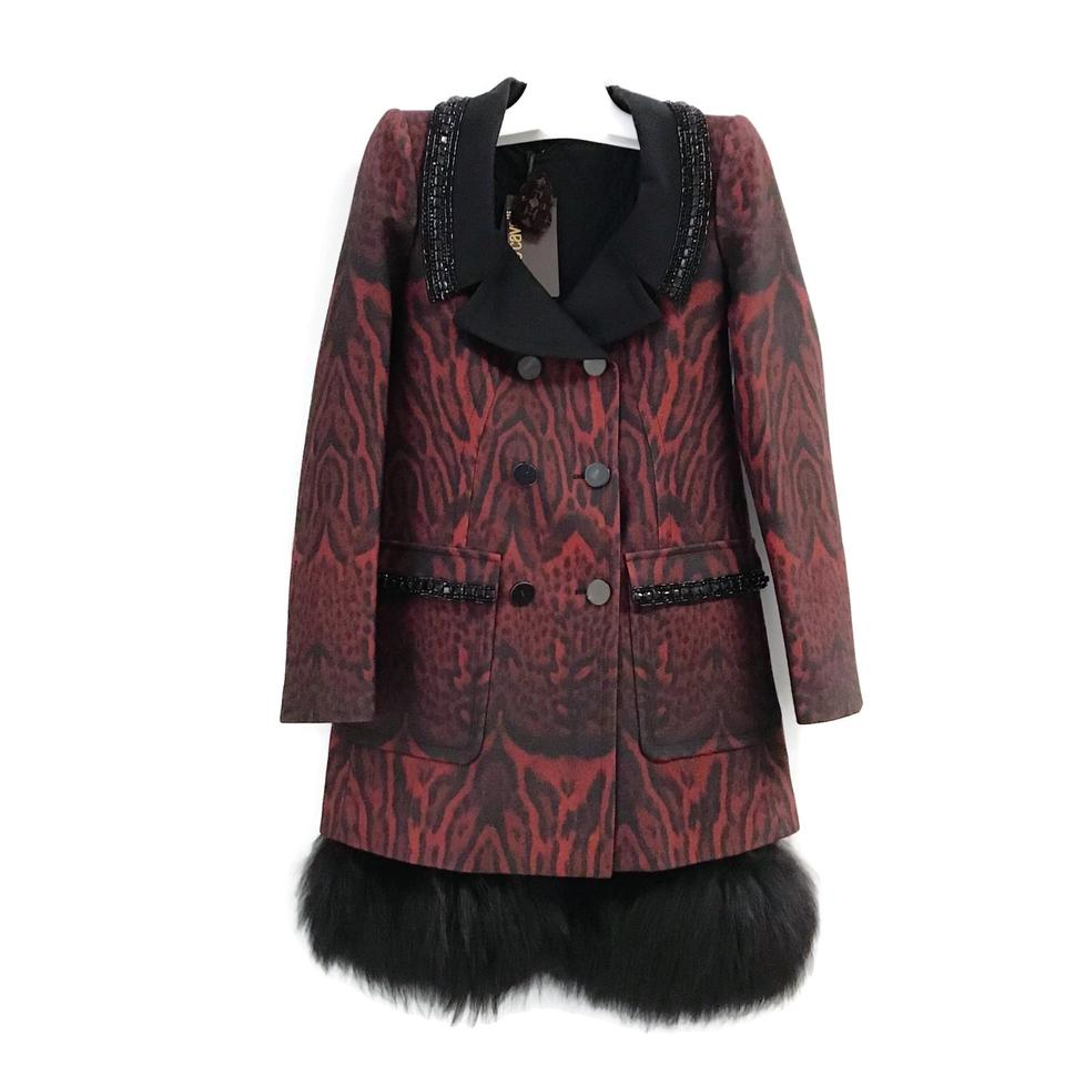 Roberto Cavalli Red/Black Animal Print Coat