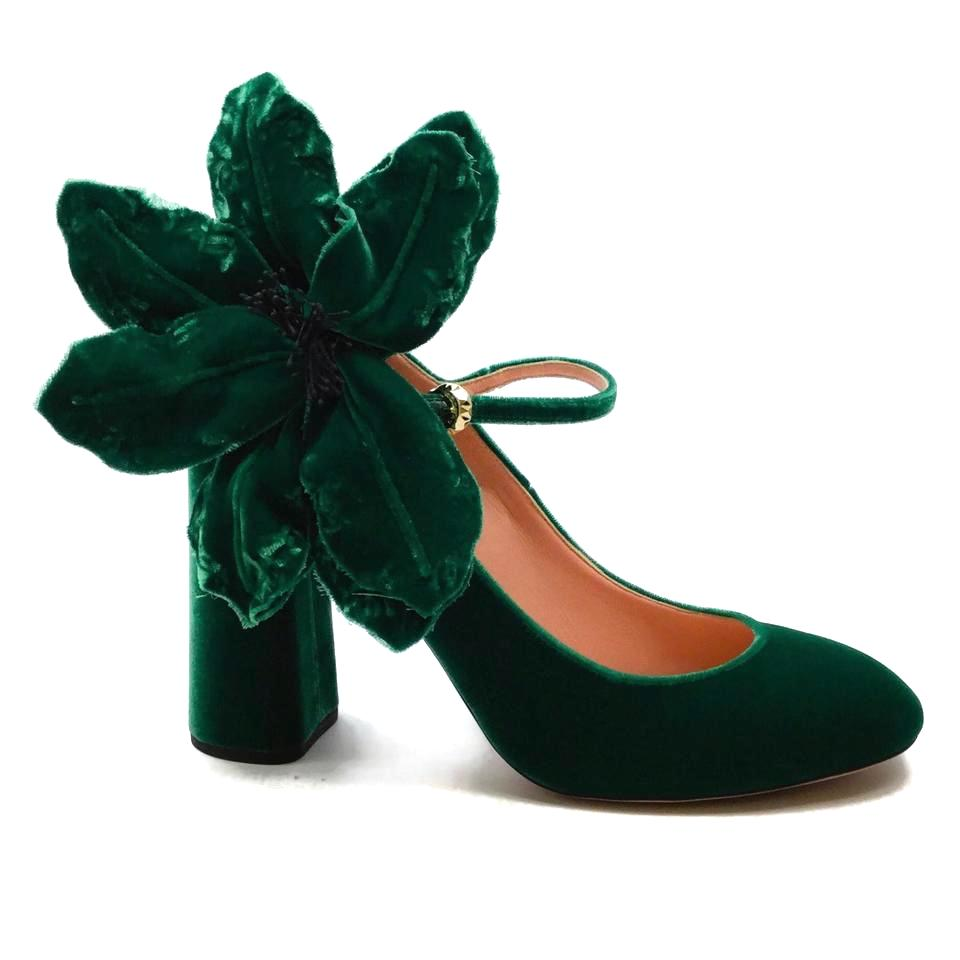 Rochas Green Floral Velvet Mary Jane Pumps