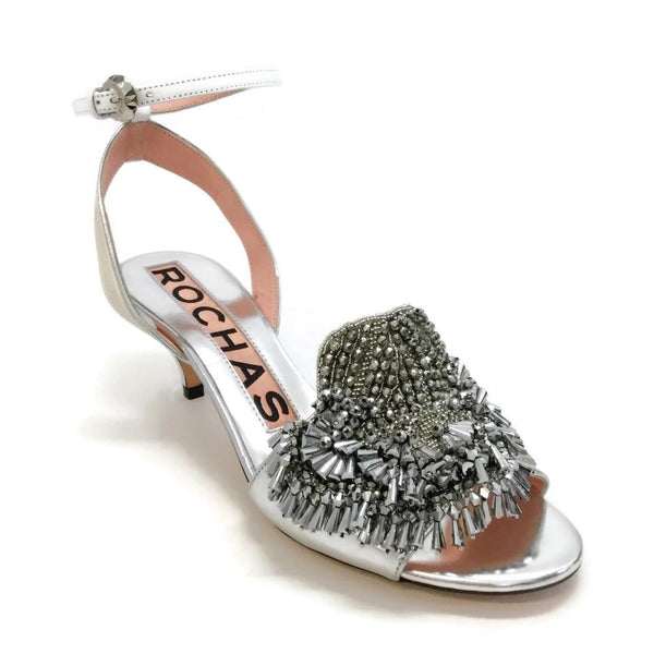 Rochas Silver Slingback Shoes