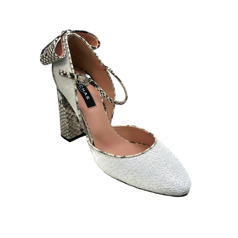 Rochas White Sequin and Snake Pumps
