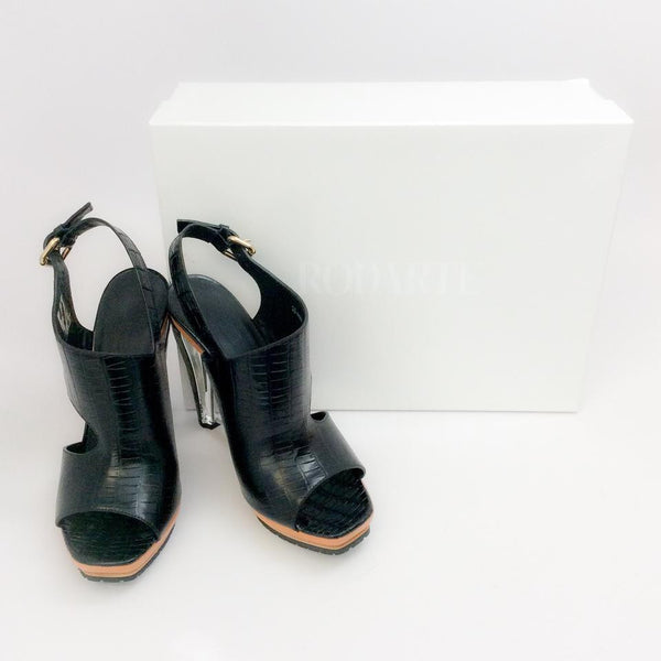 Crocodile and Lucite Sandal by Rodarte with box