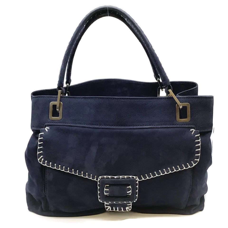 Roger Vivier Top Stitched Navy Suede Leather Tote