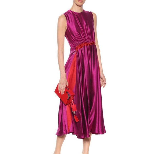 Roksanda Fuschia/Magenta Silk Gathered Night Out Dress