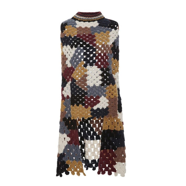 Rosetta Getty Black/Gold Multi Chunky Crochet Color Poncho