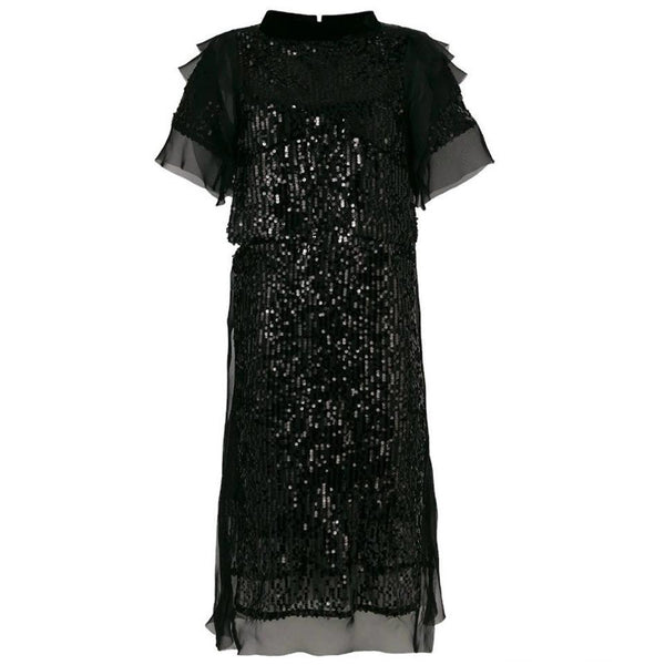 sacai Black Voile Sequin Night Out Dress