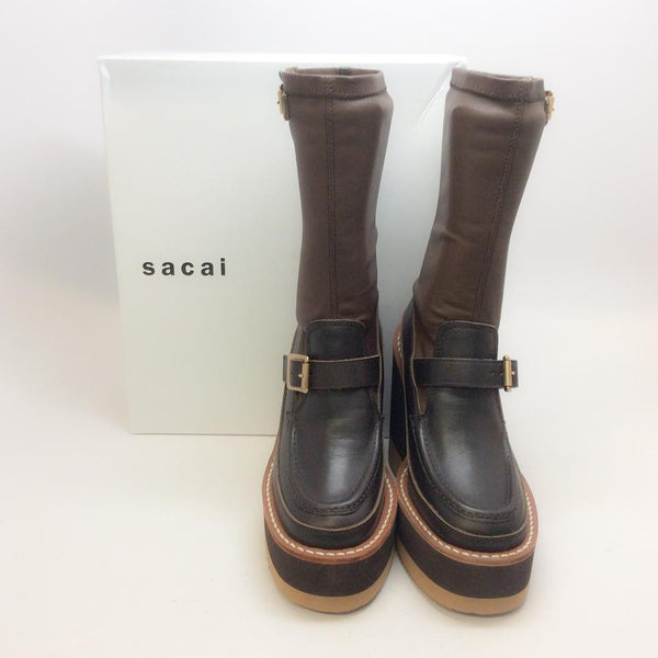 Loafer Wedge Ankle Brown Boots by Sacai with box