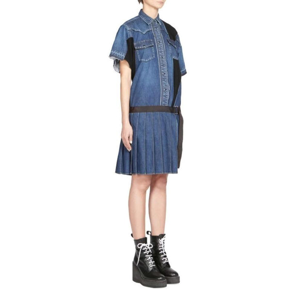 sacai Denim / Black Pleated Dress