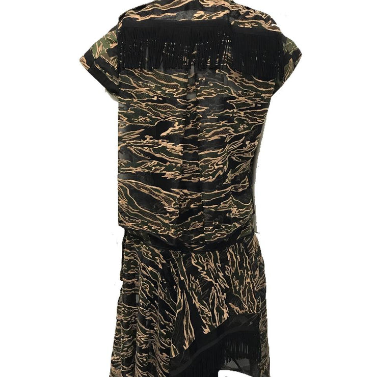 sacai Olive/Tan/Black Camo Fringe Dress