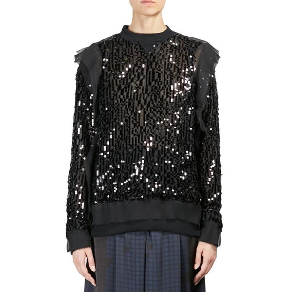 sacai Paillettes Sequin Black Top