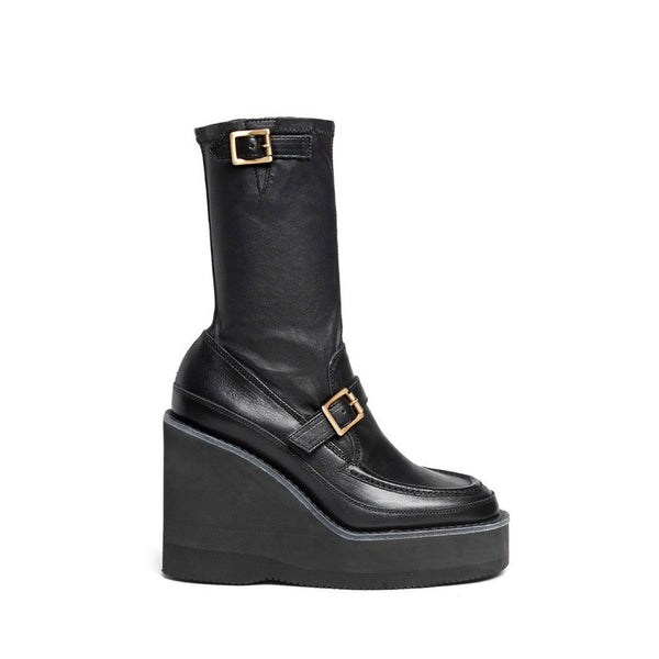 Loafer Wedge Ankle Black Booties by Sacai