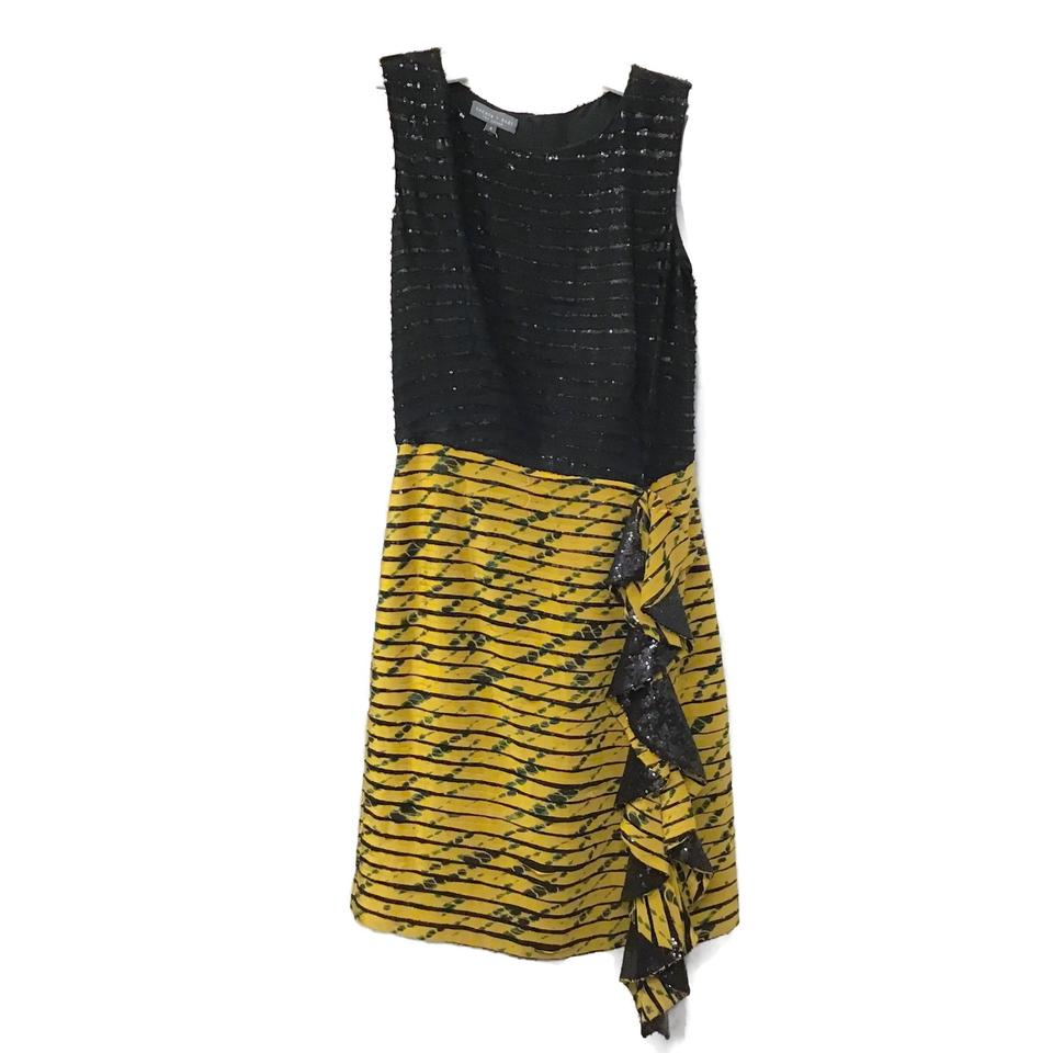 Sachin + Babi Black/Yellow Silk Tie Dye Dress