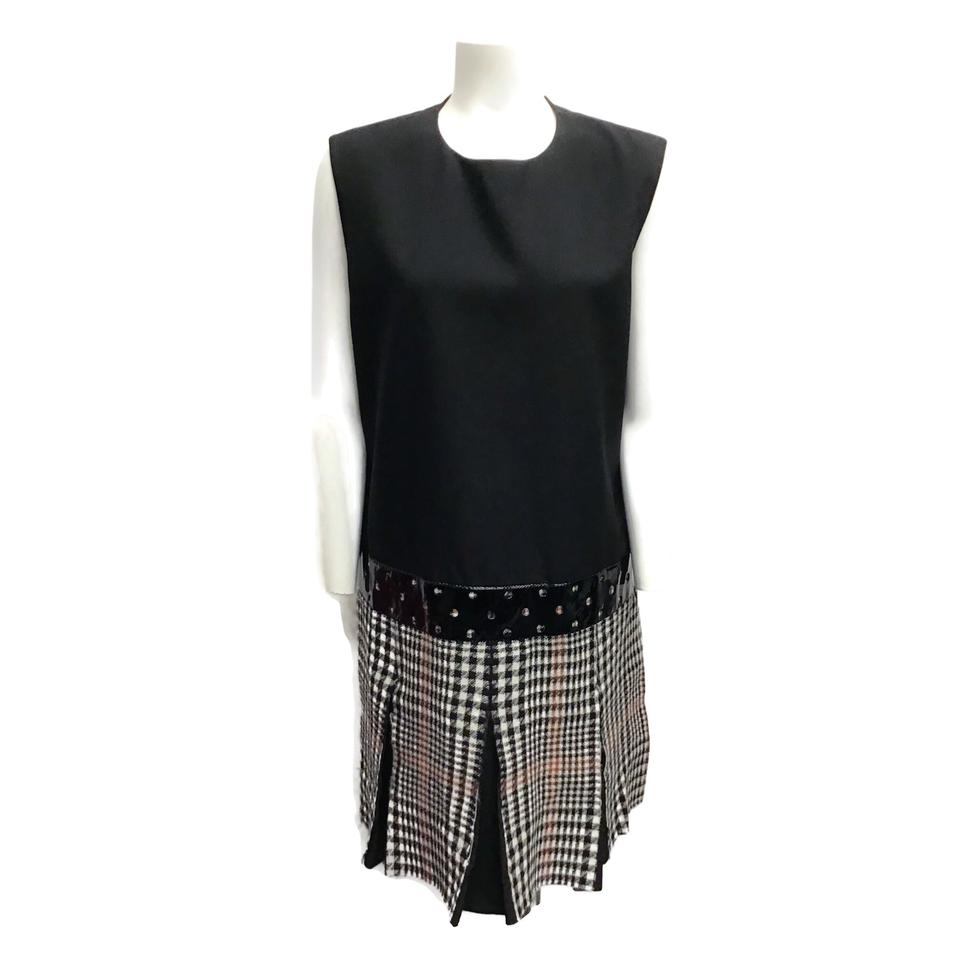 Saint Laurent Black Multi Plaid Pleated Dress