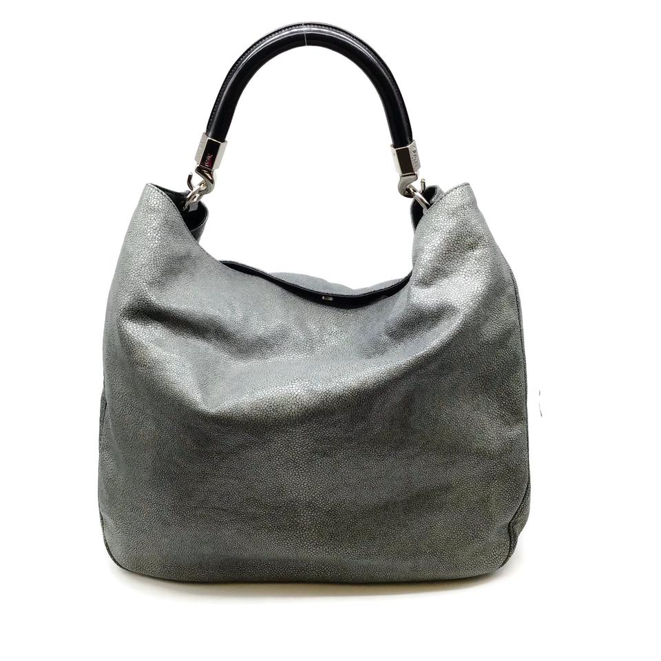 Saint Laurent Roady Stingray Grey Leather Hobo Bag