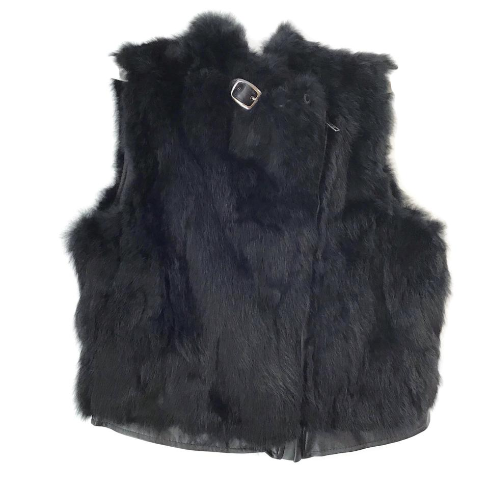 Saks Fifth Avenue Black Rabbit Vest