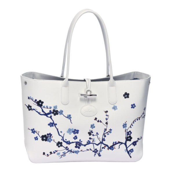 Roseau Sakura Navy Tote Bag by Longchamp