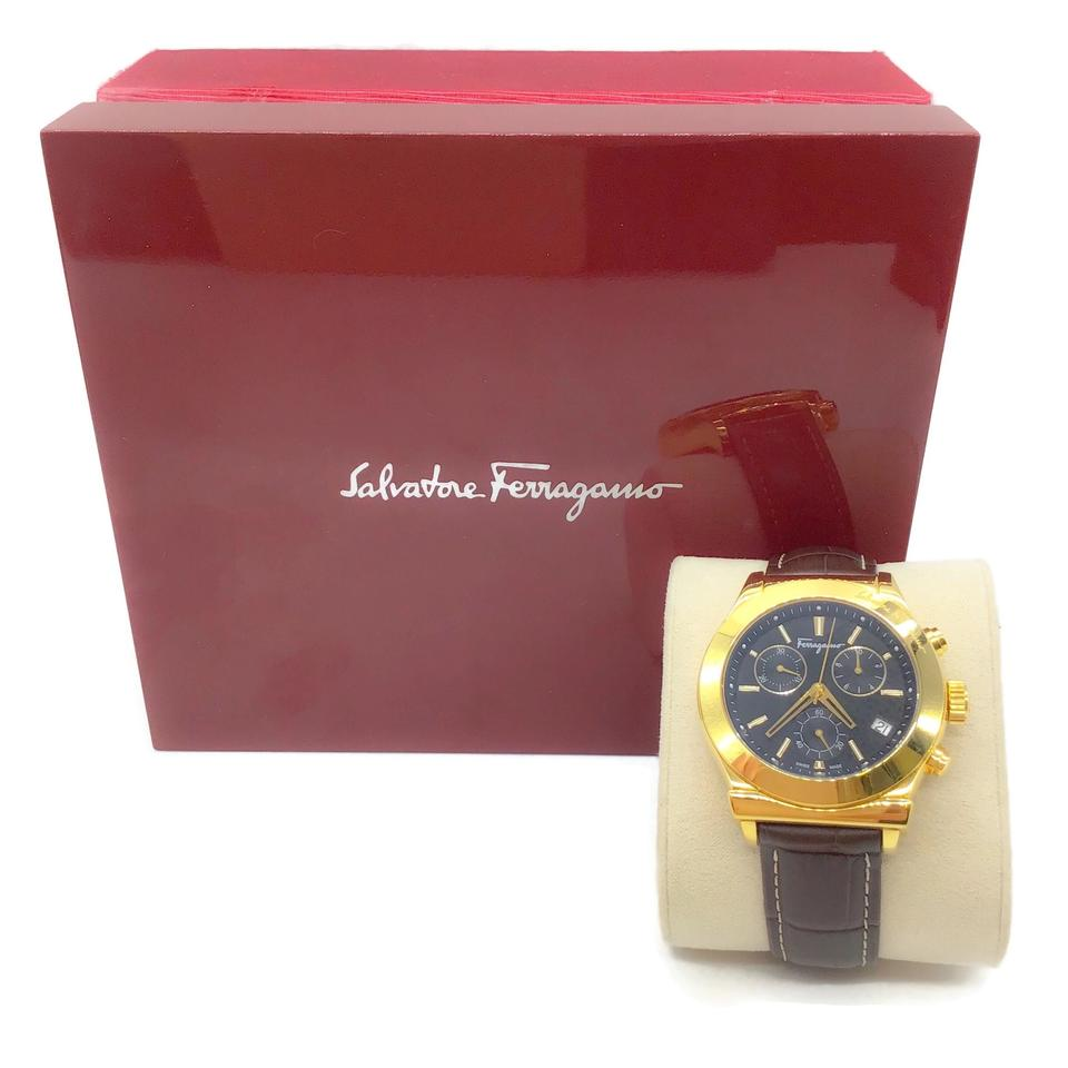 Salvatore Ferragamo Brown/Gold Leather Adjustable Watch