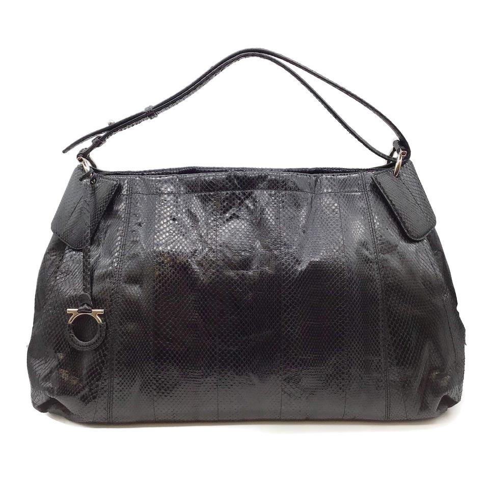 Salvatore Ferragamo Large Black Snakeskin Leather Hobo