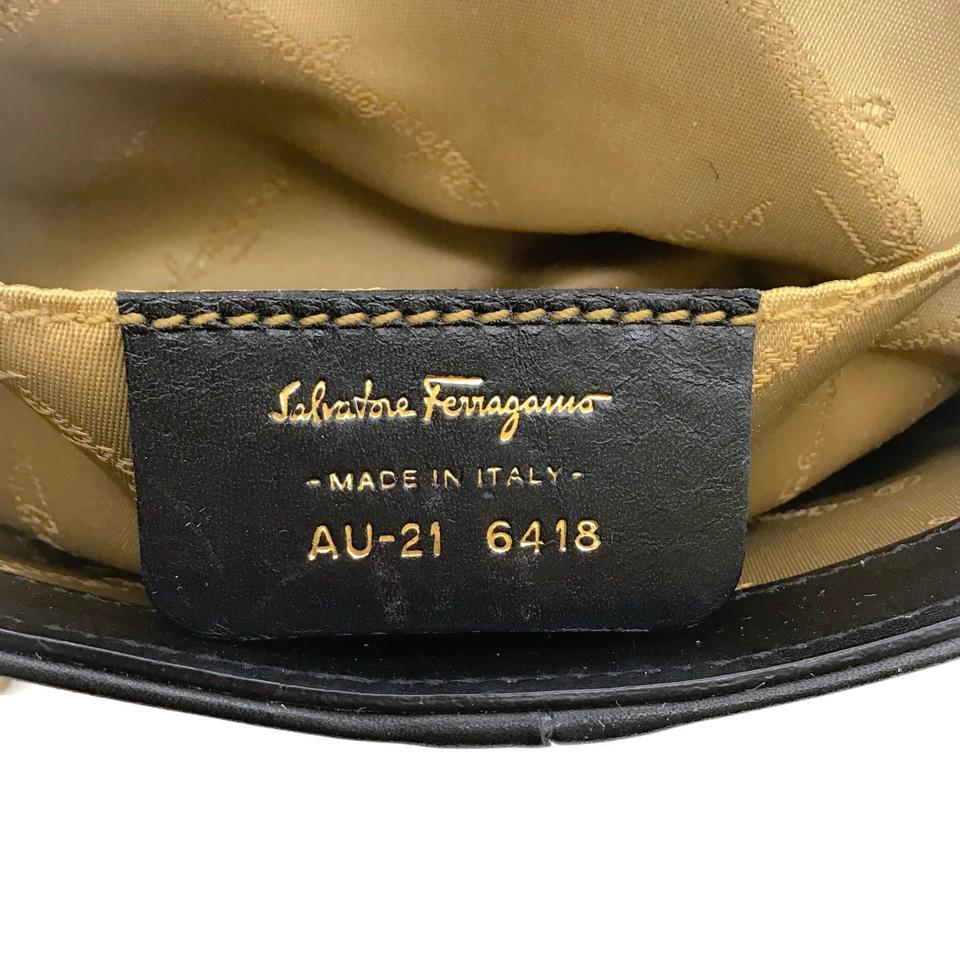Salvatore Ferragamo Logo Black Leather Clutch
