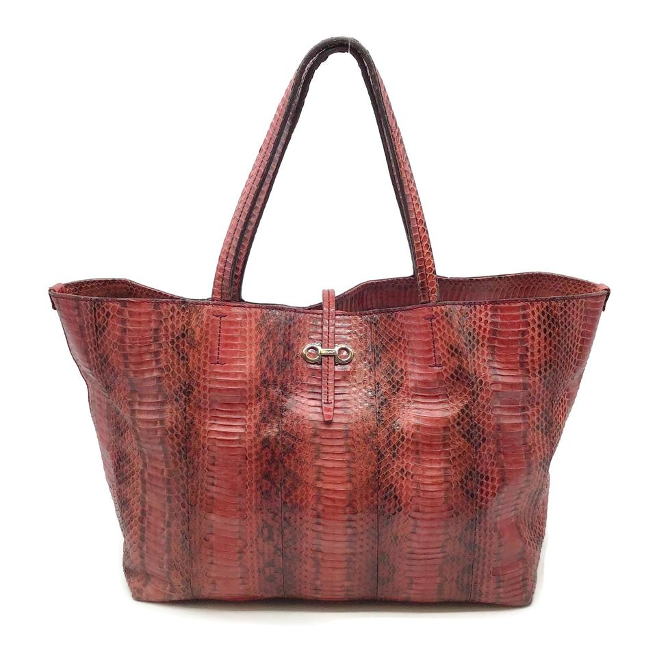 Salvatore Ferragamo Red/Black Python Tote