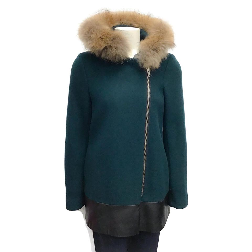 Sandro Emerald Wool/Raccoon Coat