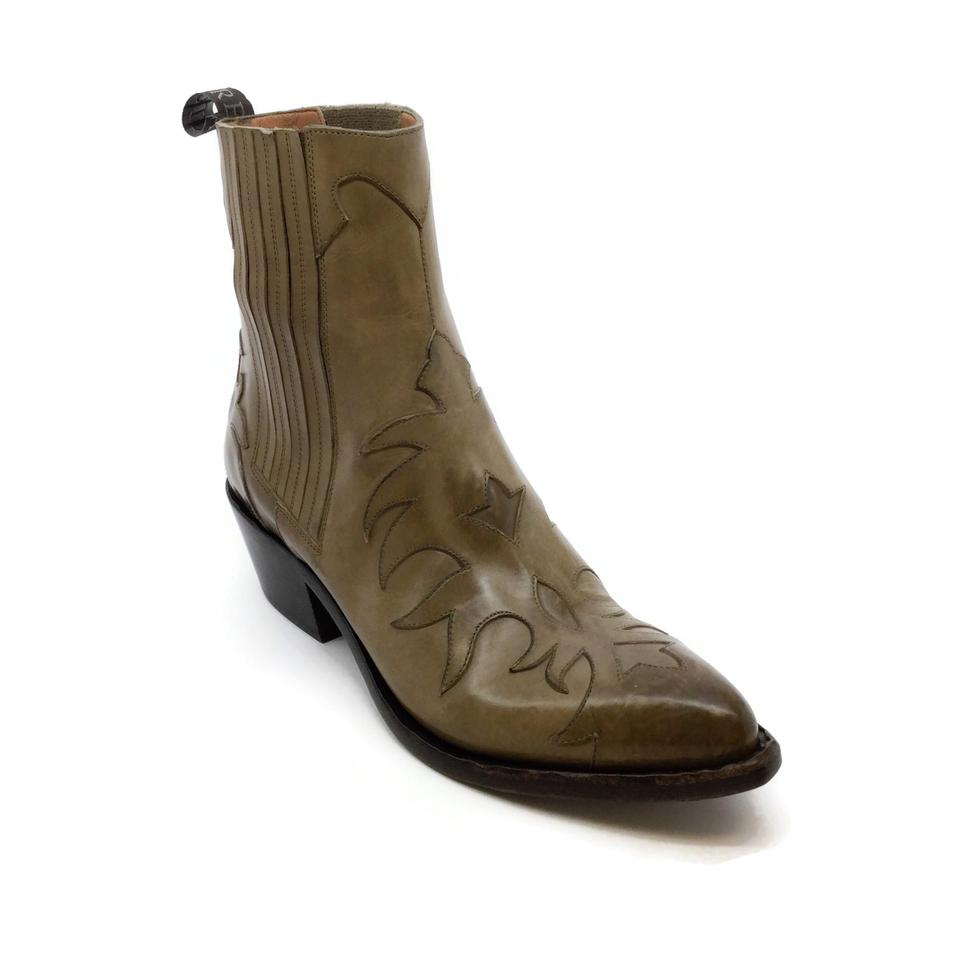 Sartore Taupe Western Style Applique Boots
