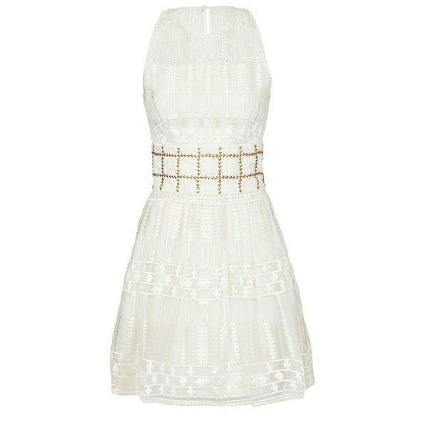 sass & bide Ivory/Gold Embroidered Balancing Act Dress