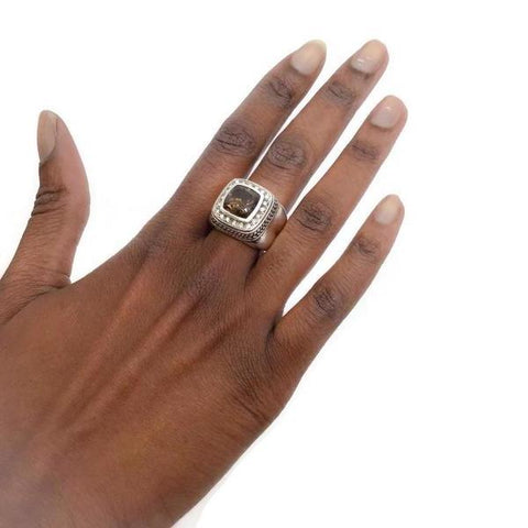 Scott Kay Silver Smoky Quartz Ring