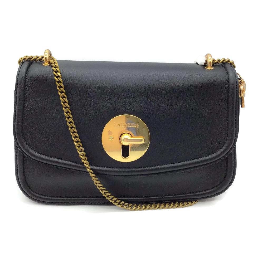 See by Chloé Flap Black Sheepskin Leather Shoulder Bag