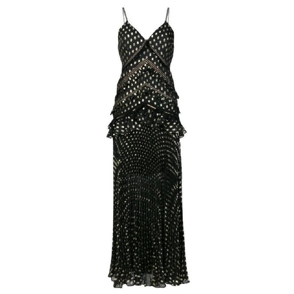 self-portrait Black / Gold Metallic Pleated Polka-dot Dress