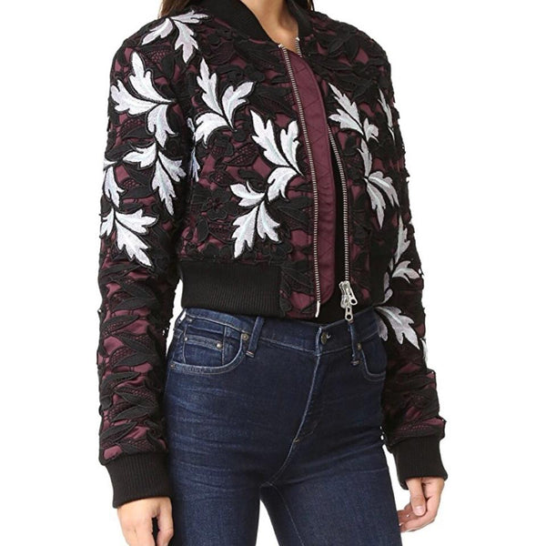 self-portrait Burgundy/Black/White Lace Bomber Jacket