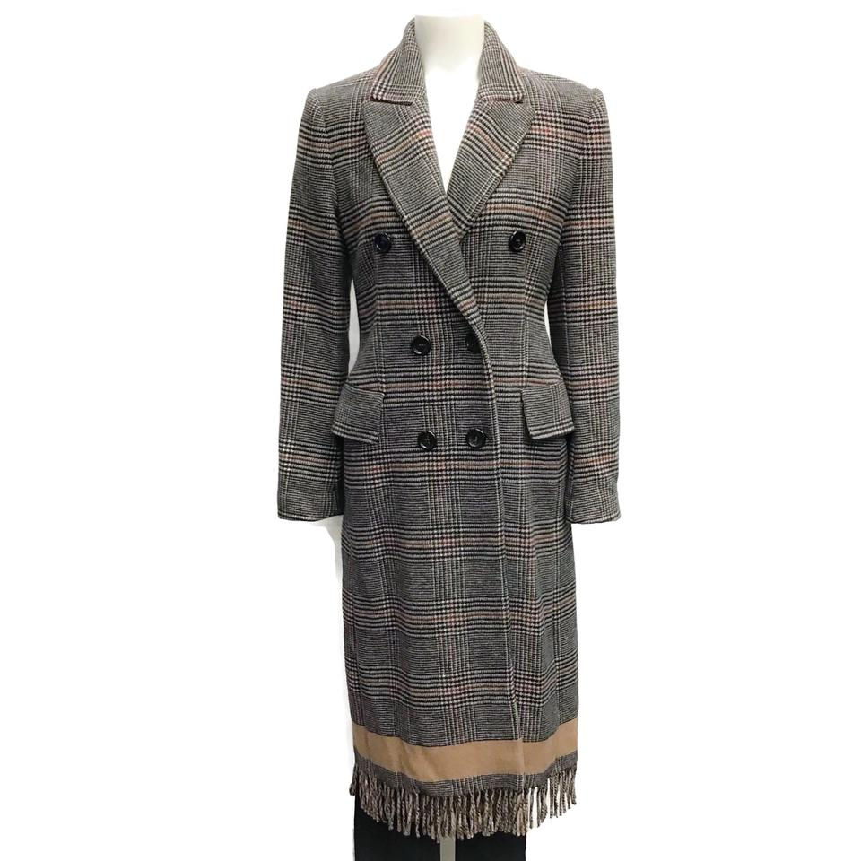 SEVENTY Black/Tan Plaid Fringe Coat