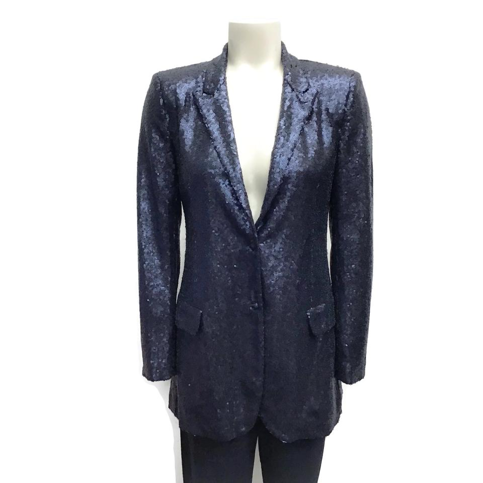 SEVENTY Navy Notch Collar Sequins Blazer
