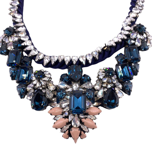 Shourouk Blue/ Pink Crystal Bib Necklace