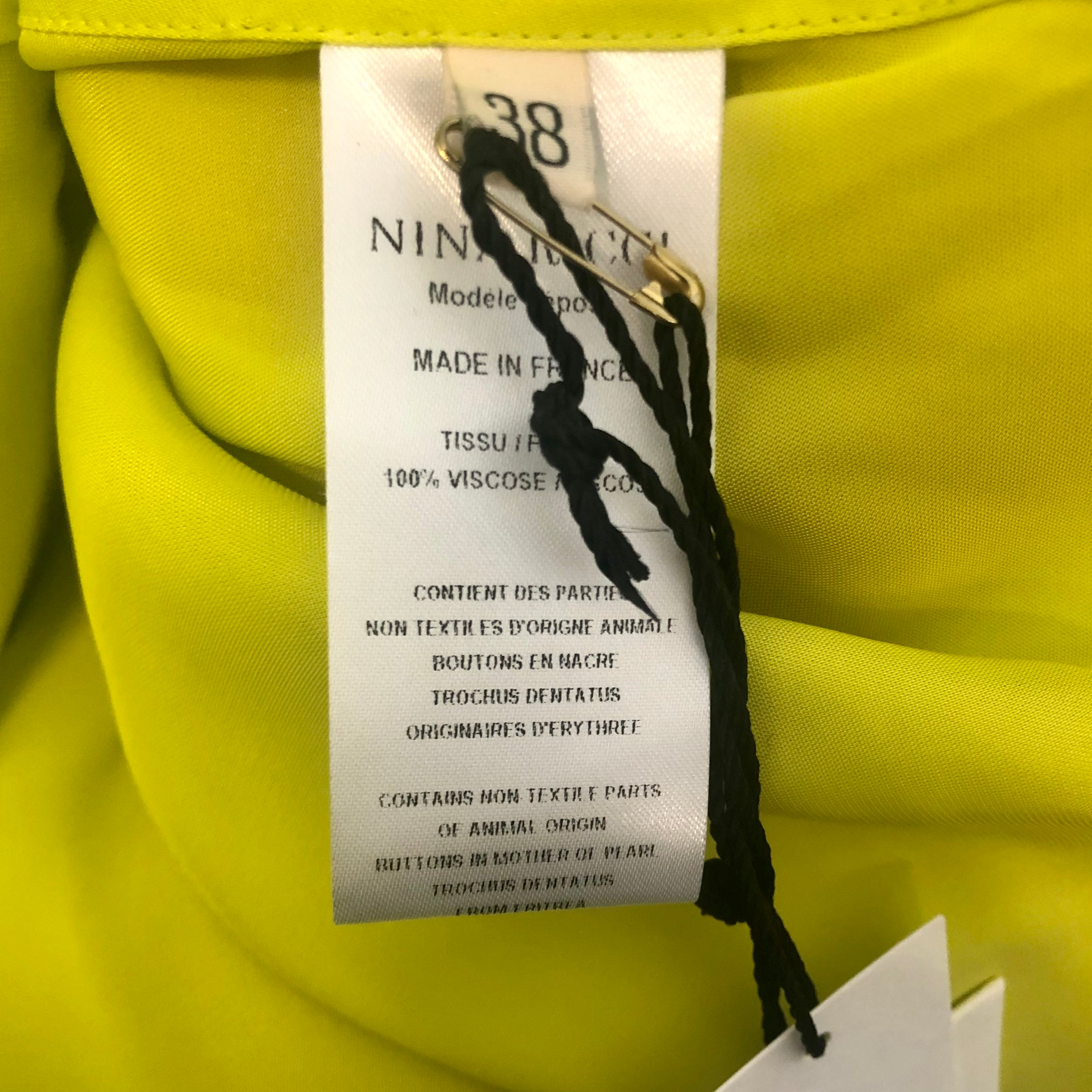 Nina Ricci Lime Oversized Button-Up Top