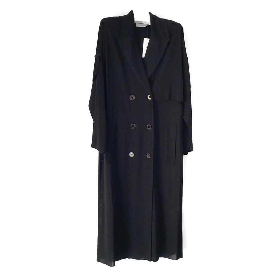 Sonia Rykiel Black Fluid Trench Coat