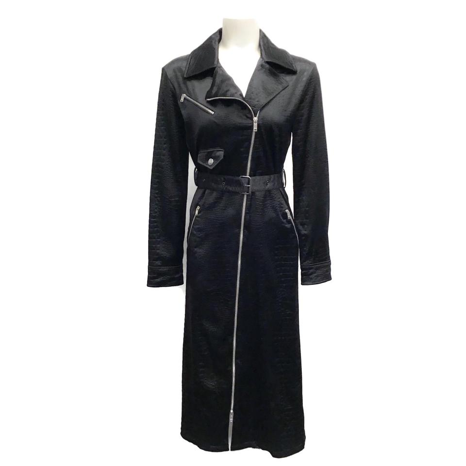 Sonia Rykiel Black Satin Snake Embossed Coat